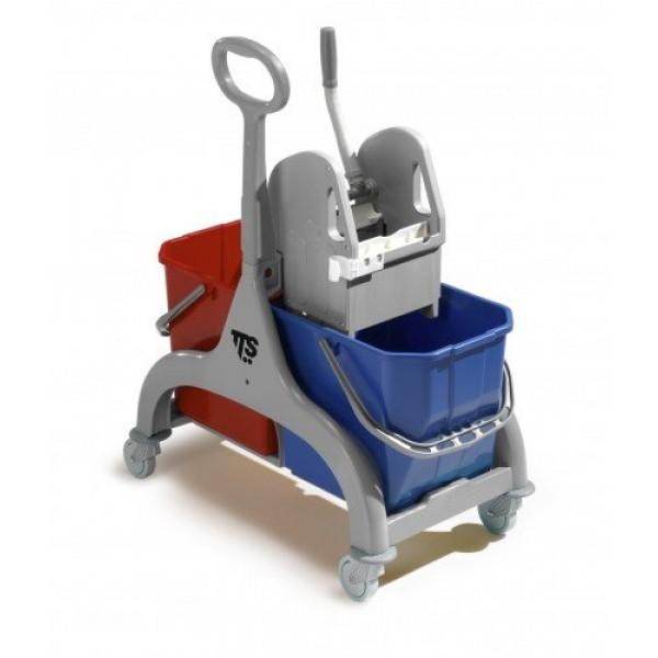 werkwagen 2x15 liter (emmer rood en blauw)